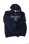 USED Majestic Boy's Hooded Sweatshirt New York Yankees X-Large Blue