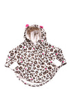 USED Little Tots Baby Girl's Hooded Poncho 9 Months Brown & Pink