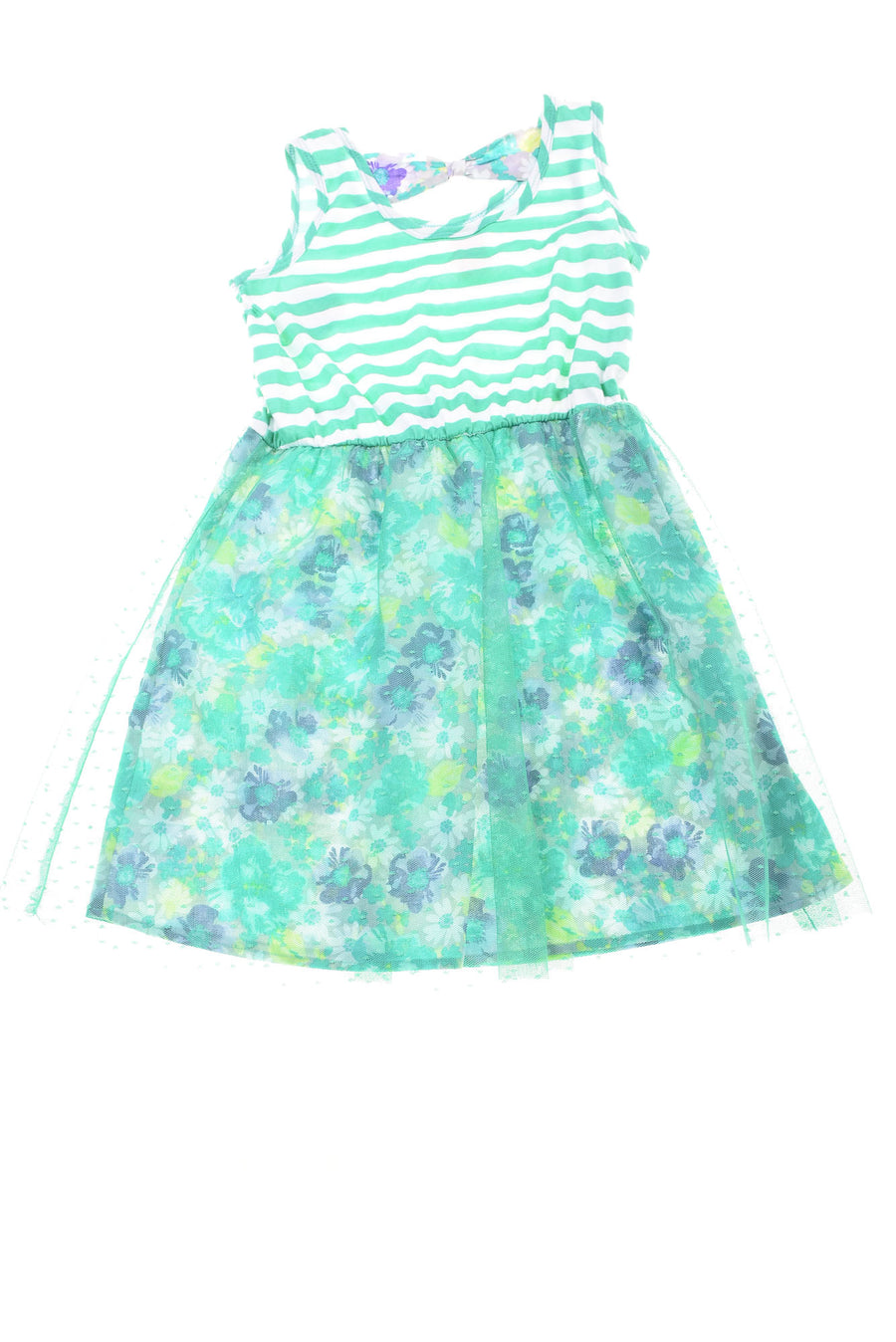 NEW Faded Glory Girl's Dress Medium Green & White