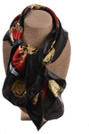 USED J. Mico Sancho Women's Scarf One Size Black, Red, & Gold Tone