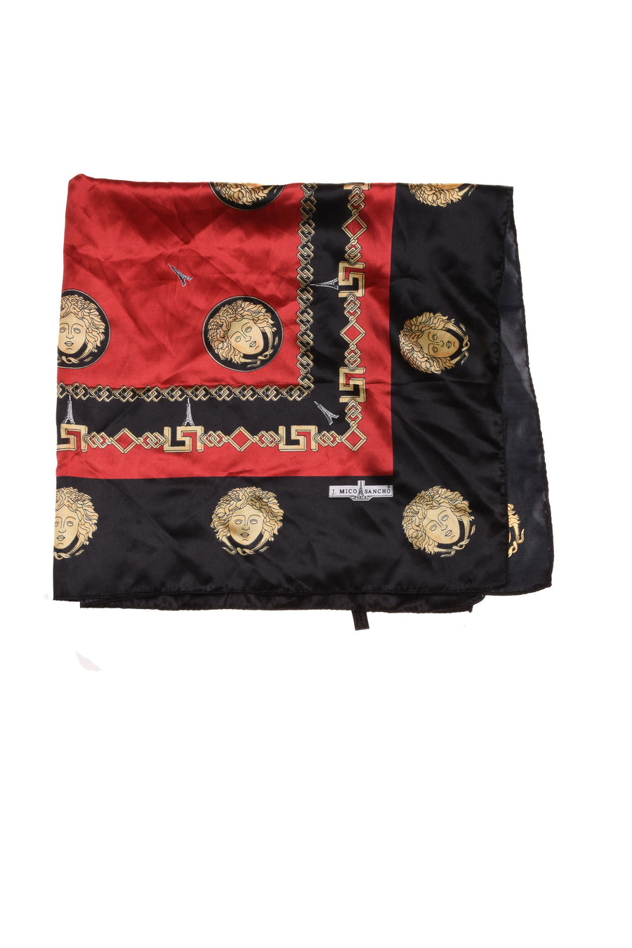 USED J. Mico Sancho USED J. Mico Sancho Women's Scarf One Size Black One Size Black, Red, & Gold Tone