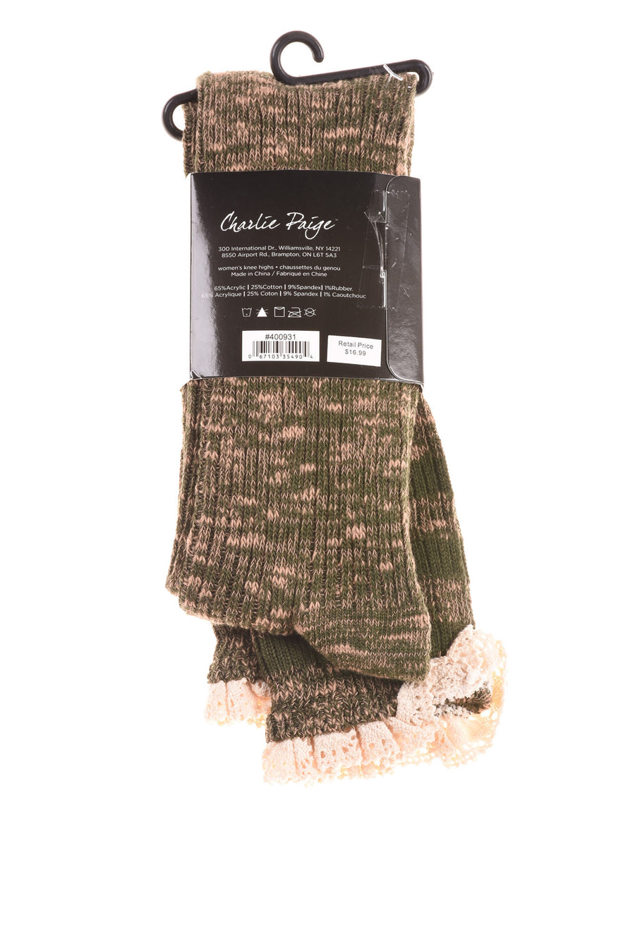 NEW Charlie Paige Women's Socks One Size Green & Tan