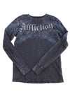 USED Affliction Men's Shirt Medium Blue & Black