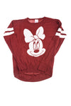 USED Disney Women's Top Small Burgundy & White