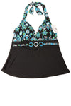 NEW Fashion Bug Women's Swimsuit Top 8 Black & Blue / Print