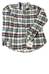 NEW Falls Creek Women's Top Medium Blue & Ivory / Plaid Print