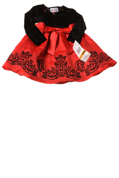 NEW Rare Editions Toddler Girl's Dress 3T Red & Black