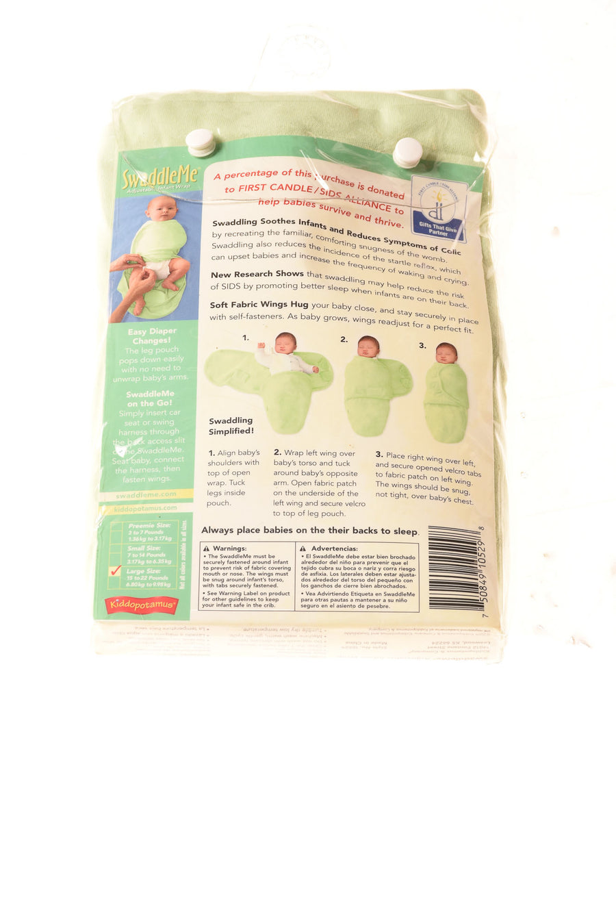 NEW Kiddopotamus Baby Boy's Infant Wrap Large Green