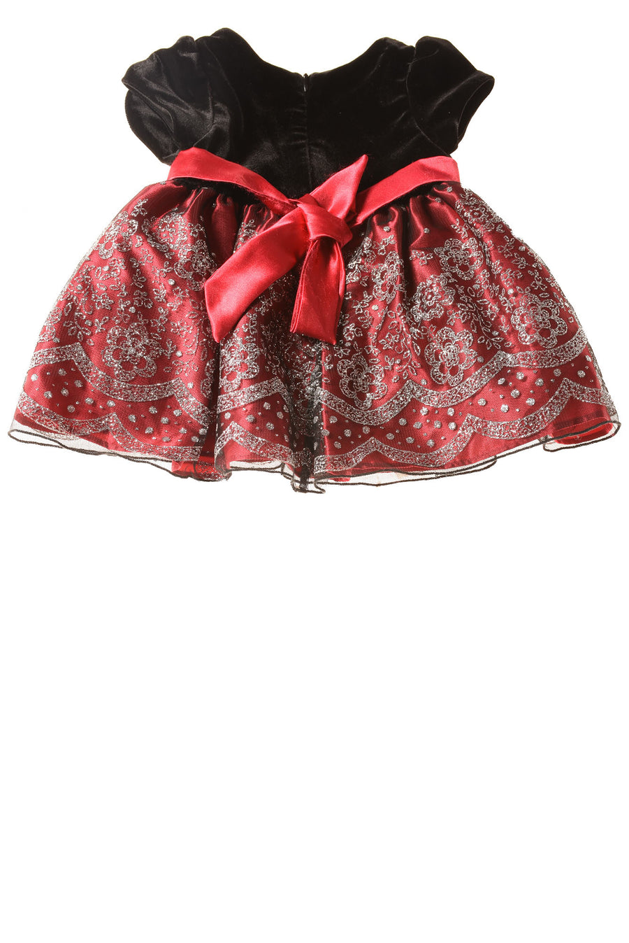 USED Love Baby Girl's Dress 12 Months Red & Black / Metallic