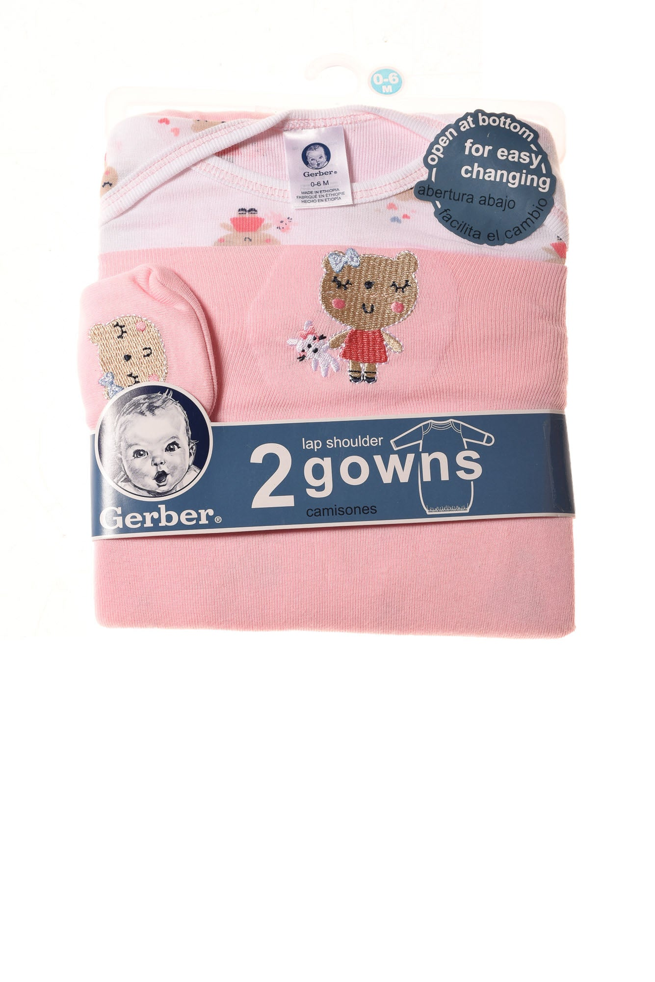 NEW Gerber Baby Gowns 0-6 Months Pink / Print - Village Discount Outlet