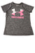 USED Under Armour Girl's Top Small Charcoal / Print