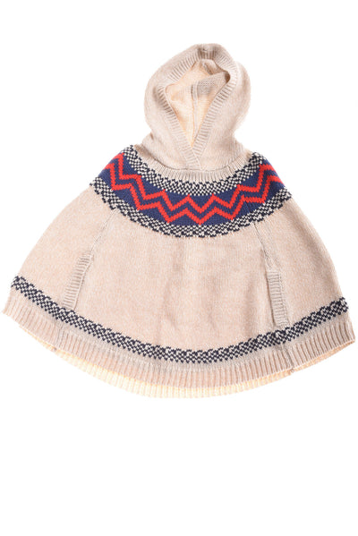 USED Oshkosh Girl's Hooded Sweater Beige, Blue, & Red 10