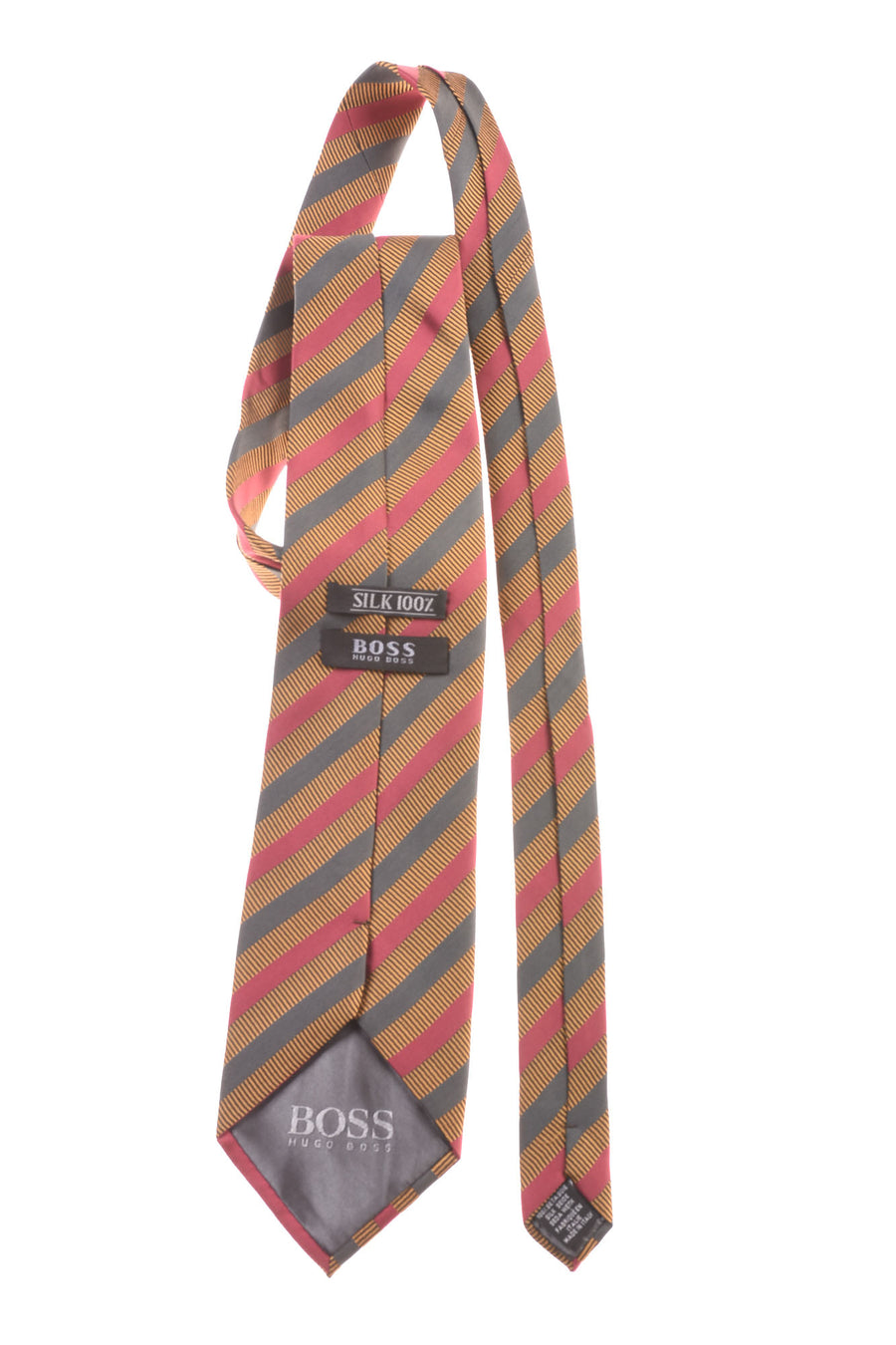 USED Hugo Boss Men's Tie One Size Gold, Maroon, & Teal