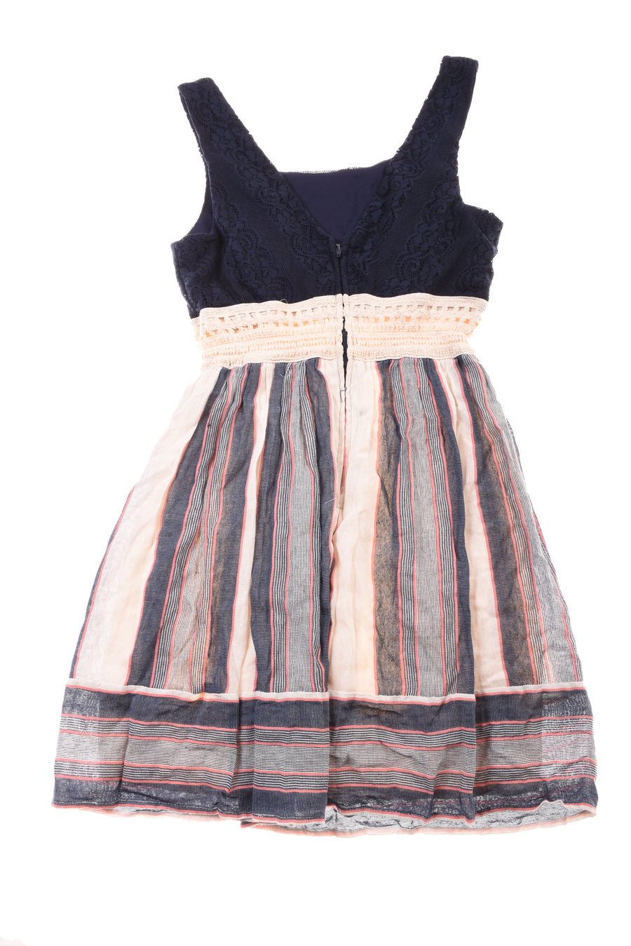 NEW Three Pink Hearts Girl's Dress Large Navy Blue & Nude