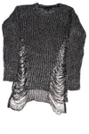 USED Derek Heart Women's Sweater Medium Black & Silver Tone