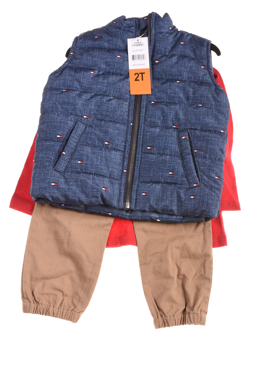 NEW Tommy Hilfiger Toddler Boy's Outfit 2T Blue, Red, & Tan