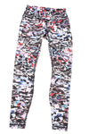 USED Lululemon Women's Leggings 6 Black, White, Blue, & Red