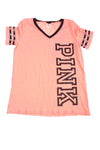 USED Pink By Victoria's Secret Women's Top Large Pink & Black