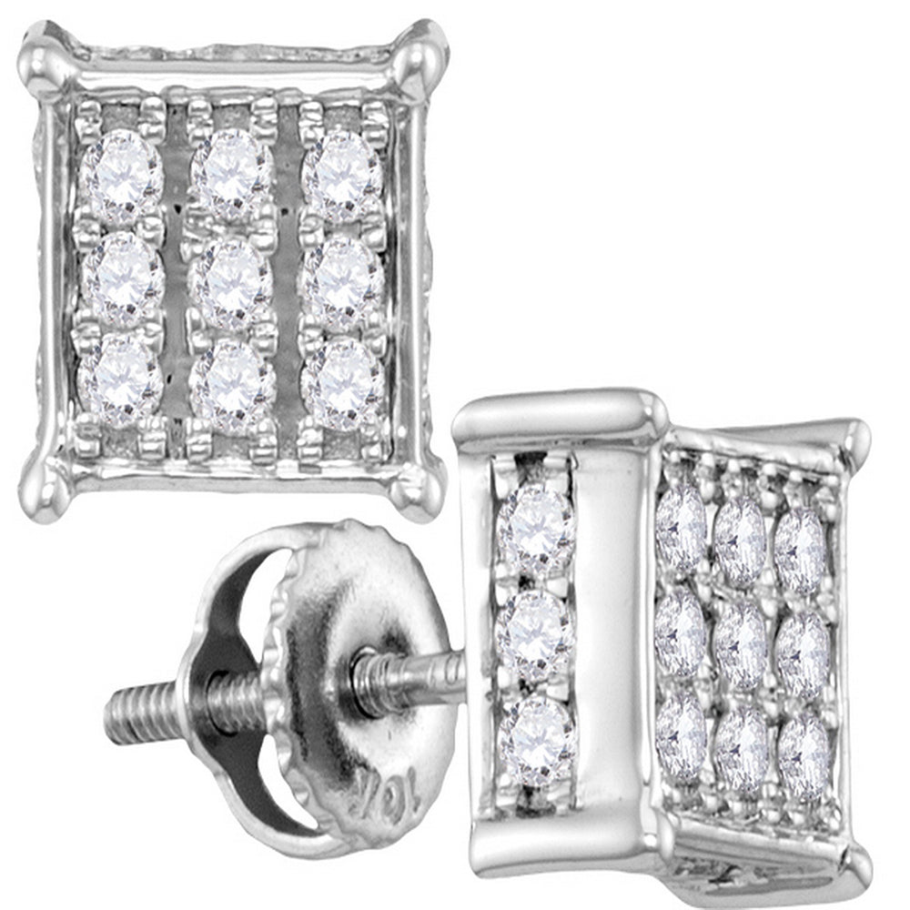 9fb5e6325 10kt White Gold Womens Round Diamond Square Cluster Screwback Earrings –  The Jewelry Firm