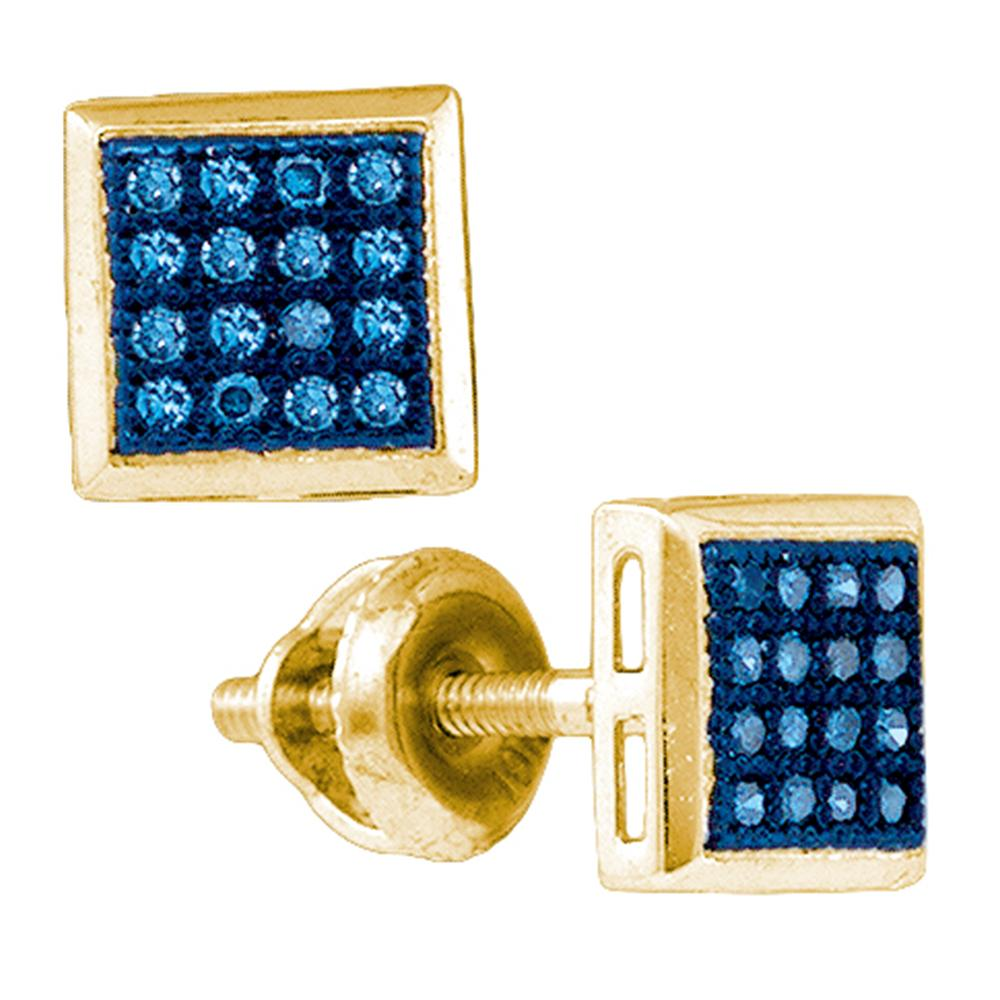 a63a2ddd3 10k Yellow Gold Womens Blue Color Enhanced Diamond Square Cluster Screwback  Stud Earrings 1/10 Cttw
