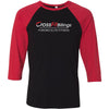 CrossFit Billings - 100 - Tag Line - Bella + Canvas - Men's Three-Quarter Sleeve Baseball T-Shirt