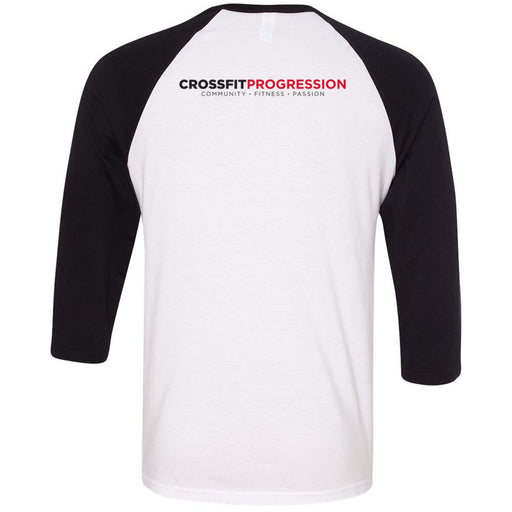 CrossFit Progression - 202 - Icon - Bella + Canvas - Men's Three-Quarter Sleeve Baseball T-Shirt