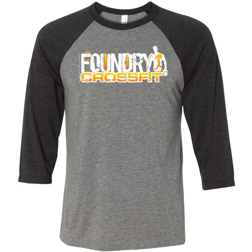 Foundry CrossFit - 100 - Standard - Bella + Canvas - Men's Three-Quarter Sleeve Baseball T-Shirt