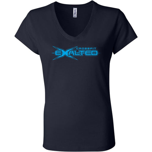CrossFit Exalted - 100 - Blue - Bella + Canvas - Women's Short Sleeve Jersey V-Neck Tee