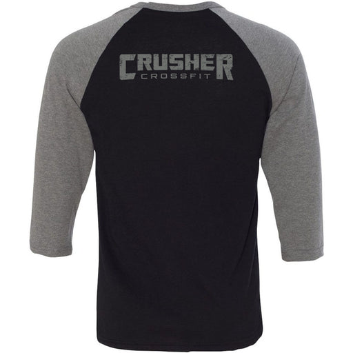 Crusher CrossFit - 202 - C44 - Bella + Canvas - Men's Three-Quarter Sleeve Baseball T-Shirt