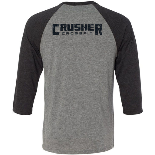 Crusher CrossFit - 202 - Symbol - Bella + Canvas - Men's Three-Quarter Sleeve Baseball T-Shirt