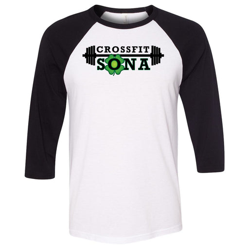 CrossFit Sona - 100 - Standard - Bella + Canvas - Men's Three-Quarter Sleeve Baseball T-Shirt