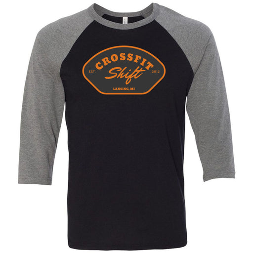 CrossFit Shift - 100 - R3 - Bella + Canvas - Men's Three-Quarter Sleeve Baseball T-Shirt