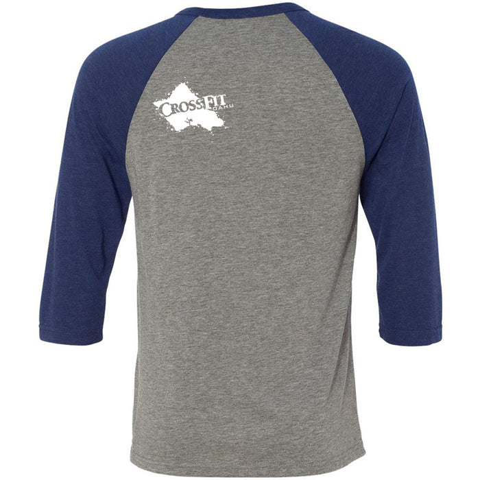 CrossFit Oahu - 202 - Awesome! - Bella + Canvas - Men's Three-Quarter Sleeve Baseball T-Shirt