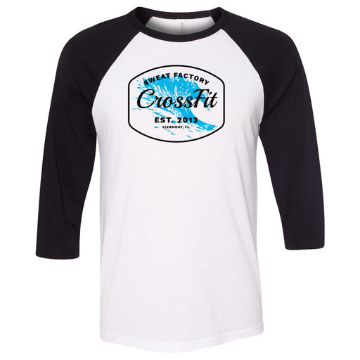 Sweat Factory CrossFit - 100 - KK4 - Bella + Canvas - Men's Three-Quarter Sleeve Baseball T-Shirt