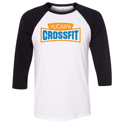 Yucaipa CrossFit - 100 - Standard - Bella + Canvas - Men's Three-Quarter Sleeve Baseball T-Shirt