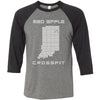 Mad Apple CrossFit - 100 - Indiana - Bella + Canvas - Men's Three-Quarter Sleeve Baseball T-Shirt