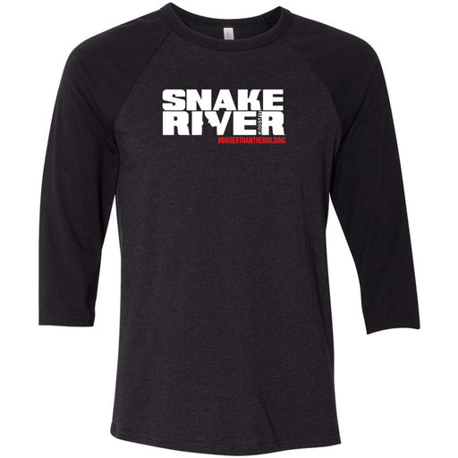 Snake River CrossFit - 202 - Outlaw - Bella + Canvas - Men's Three-Quarter Sleeve Baseball T-Shirt