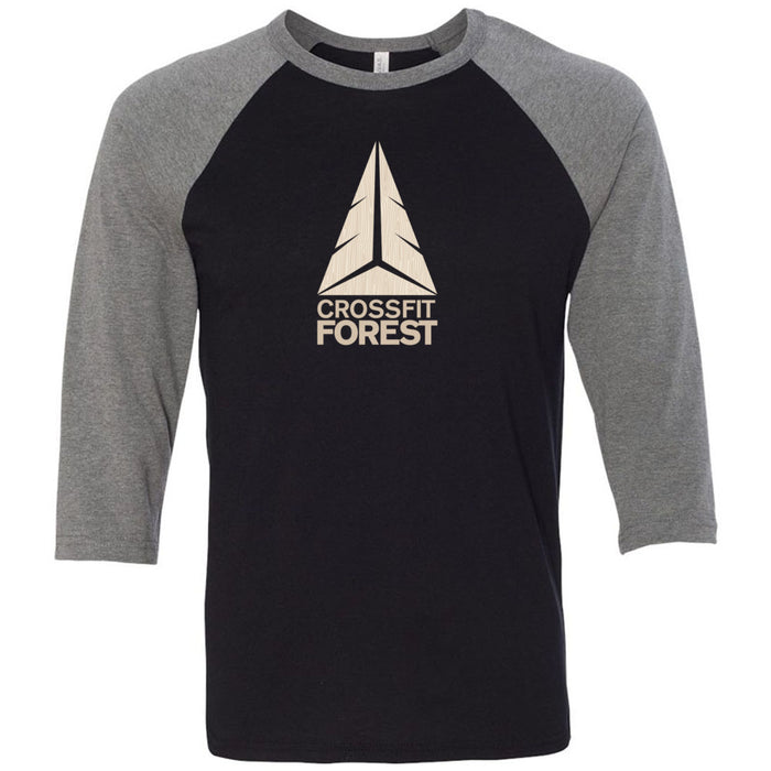 CrossFit Forest - 100 - Wood Grain Pale - Bella + Canvas - Men's Three-Quarter Sleeve Baseball T-Shirt