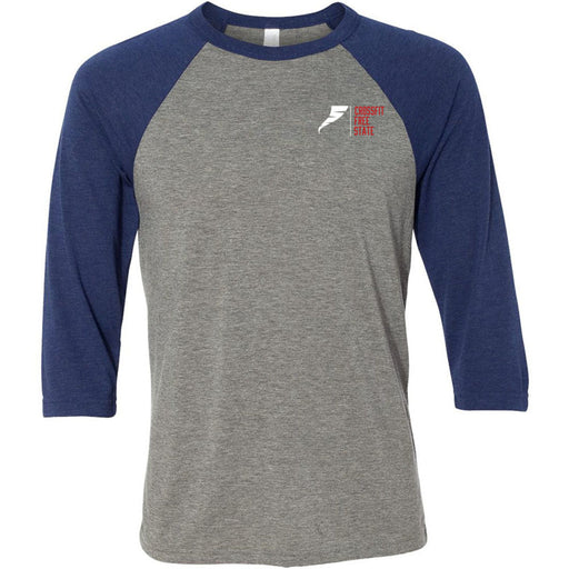 CrossFit Free State - 100 - Pocket - Bella + Canvas - Men's Three-Quarter Sleeve Baseball T-Shirt