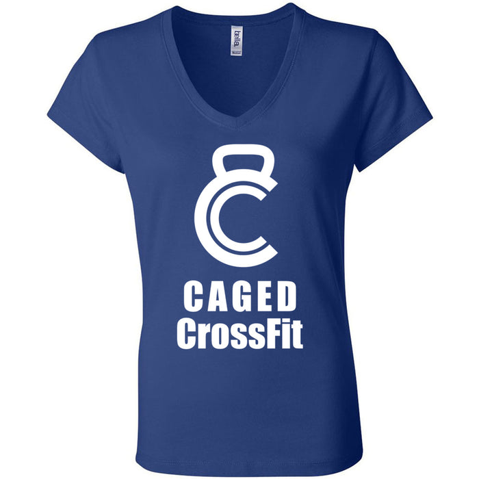 Caged CrossFit - 100 - White - Bella + Canvas - Women's Short Sleeve Jersey V-Neck Tee