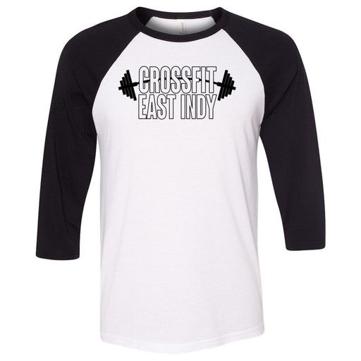 CrossFit East Indy - 100 - One Color - Bella + Canvas - Men's Three-Quarter Sleeve Baseball T-Shirt