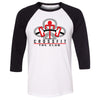CrossFit The Club - 100 - Red - Bella + Canvas - Men's Three-Quarter Sleeve Baseball T-Shirt