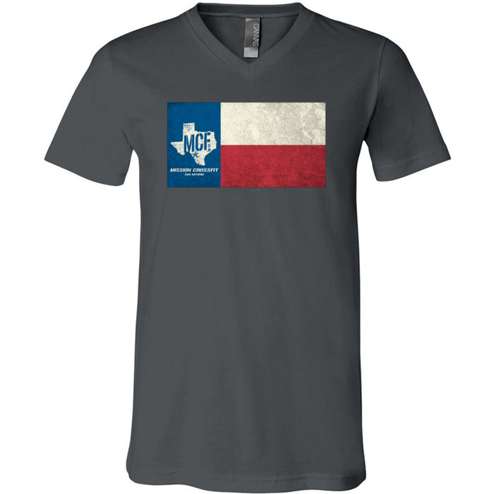 Mission CrossFit San Antonio - 100 - Flag - Bella + Canvas - Men's Short Sleeve V-Neck Jersey Tee