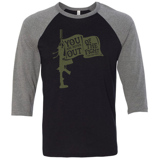 AMP Premium - 100 - You Are Never Out of the Fight - Bella + Canvas - Men's Three-Quarter Sleeve Baseball T-Shirt