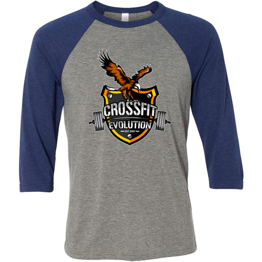 CrossFit Evolution - 100 - Eagle - Bella + Canvas - Men's Three-Quarter Sleeve Baseball T-Shirt