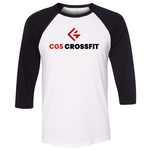 CGS CrossFit - 100 - Stacked - Bella + Canvas - Men's Three-Quarter Sleeve Baseball T-Shirt