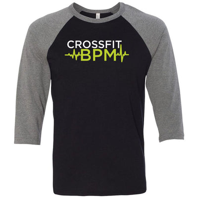 CrossFit BPM - 100 - White Volt - Bella + Canvas - Men's Three-Quarter Sleeve Baseball T-Shirt