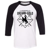 CrossFit BrownNGold - 100 - Standard - Bella + Canvas - Men's Three-Quarter Sleeve Baseball T-Shirt