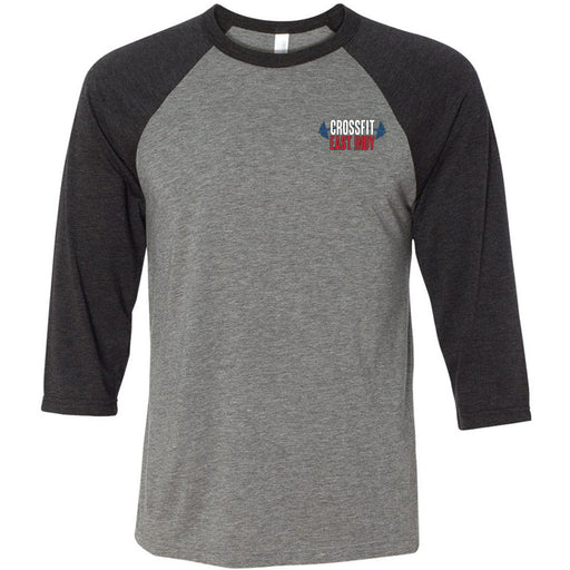 CrossFit East Indy - 100 - Pocket - Bella + Canvas - Men's Three-Quarter Sleeve Baseball T-Shirt