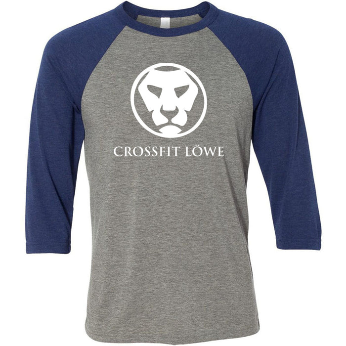 CrossFit Lowe - 100 - Standard - Bella + Canvas - Men's Three-Quarter Sleeve Baseball T-Shirt